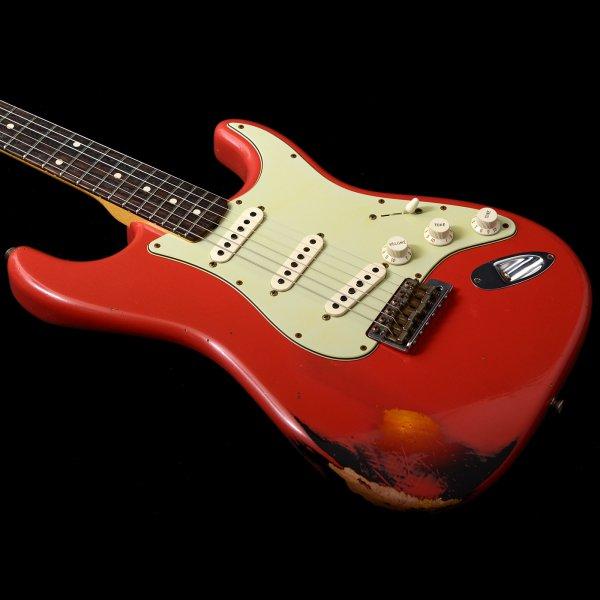 Fender Custom Shop 1960 Stratocaster Relic In Fiesta Red Over 3 Colour Sunburst