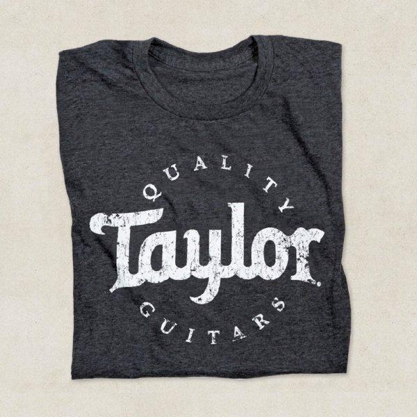 taylor guitars aged logo t shirt in grey various sizes. Black Bedroom Furniture Sets. Home Design Ideas
