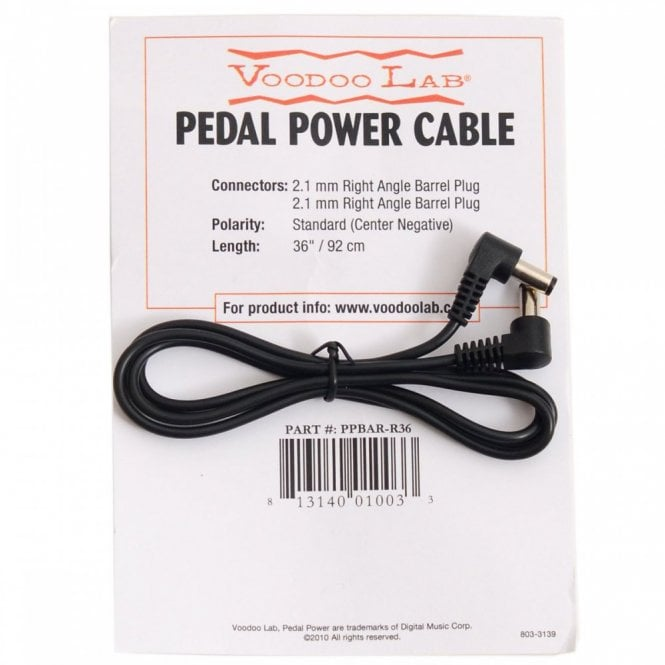Voodoo Labs Accessories PPBAR-R36 2.1mm Right Angle Barrel 9V Power Cable