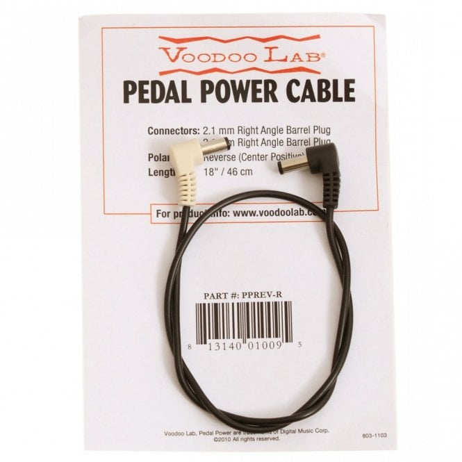 Voodoo Labs Accessories PPREV-R Reverse Polarity 2.1mm Right Angle Barrel Power Cable