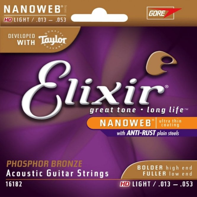 Elixir NanoWeb Phosphor Bronze Acoustic Guitar Strings Developed with Taylor