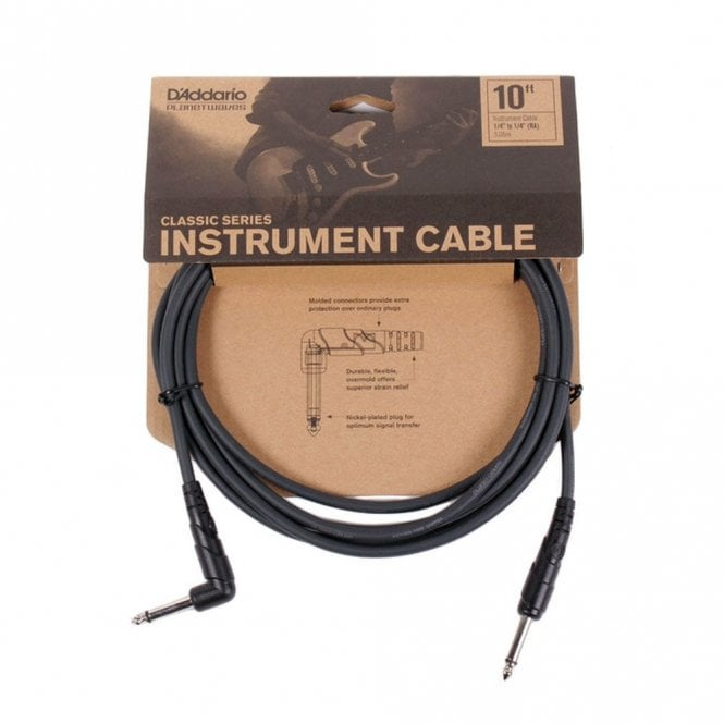 D'Addario Planet Waves Classic Series Instrument Cable - Right Angle (10ft)