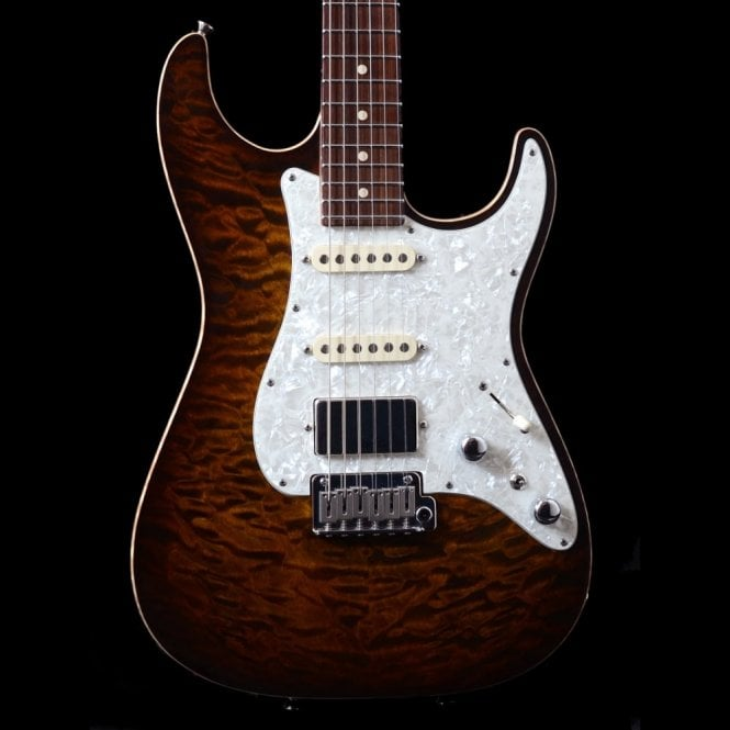 Tom Anderson Hollow Drop Top Classic Electric Guitar In Tiger Eye Burst, Pre-Owned