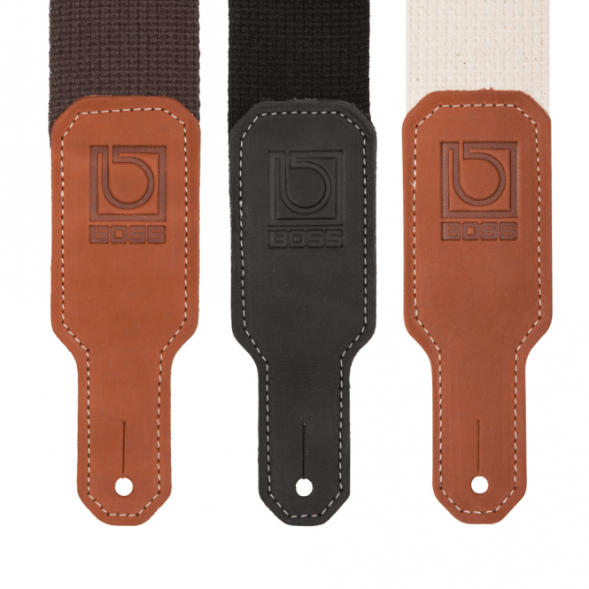 "Boss 2"" Black / Natural / Brown Cotton Guitar Strap (BSC-20)"