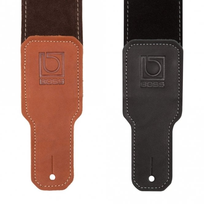 Boss Black / Brown Premium Suede Guitar Strap (BSS-25)