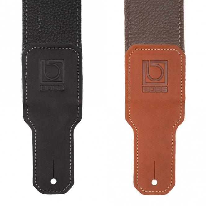 Boss BSL-25 Black / Brown Premium Leather Guitar Strap