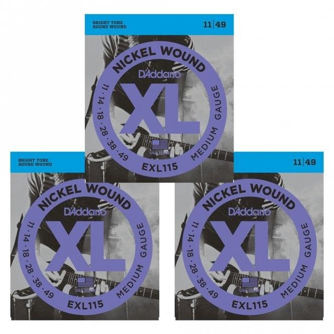 D'Addario Nickel Wound Electric Guitar Strings, Medium/Blues-Jazz Rock, 11-49 (3 Sets)