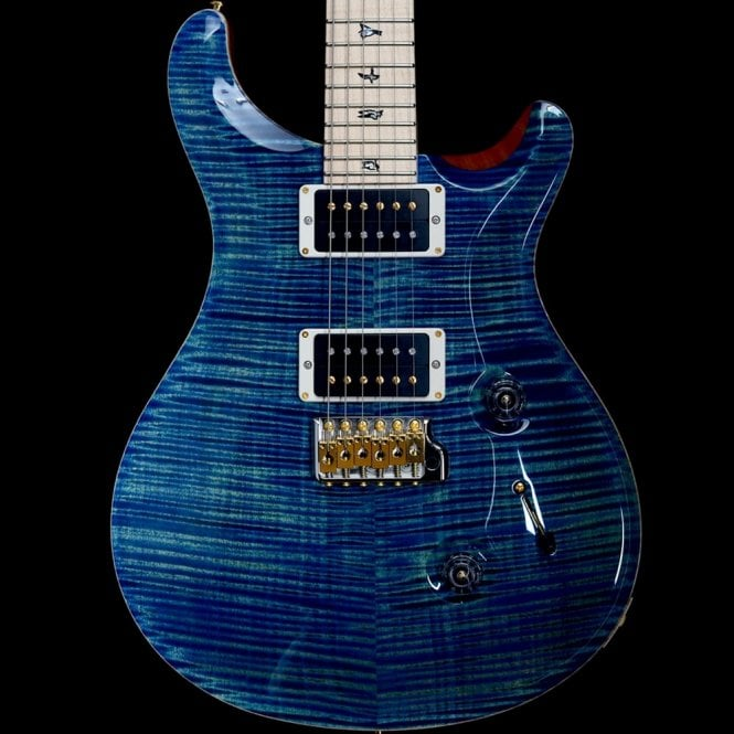 PRS Custom 24 Flame 10-Top with Flame Maple Neck, River Blue
