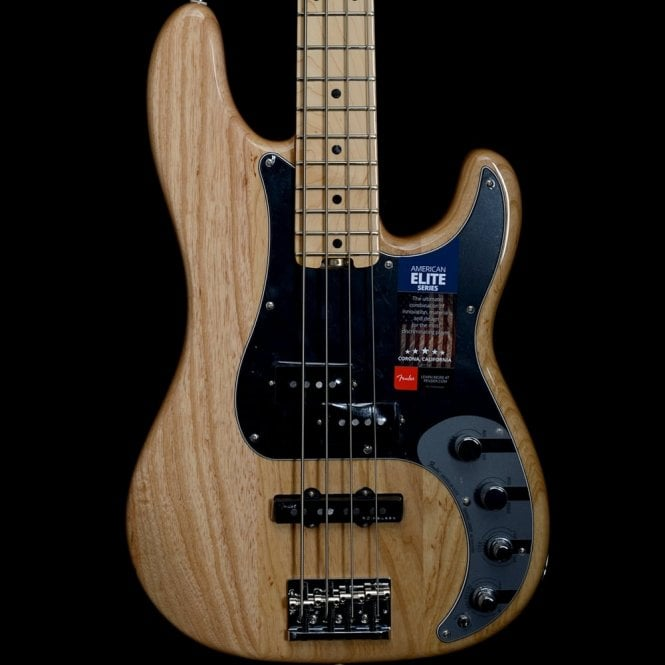 Fender American Elite Ash Precision Bass, Maple Neck, Natural Finish