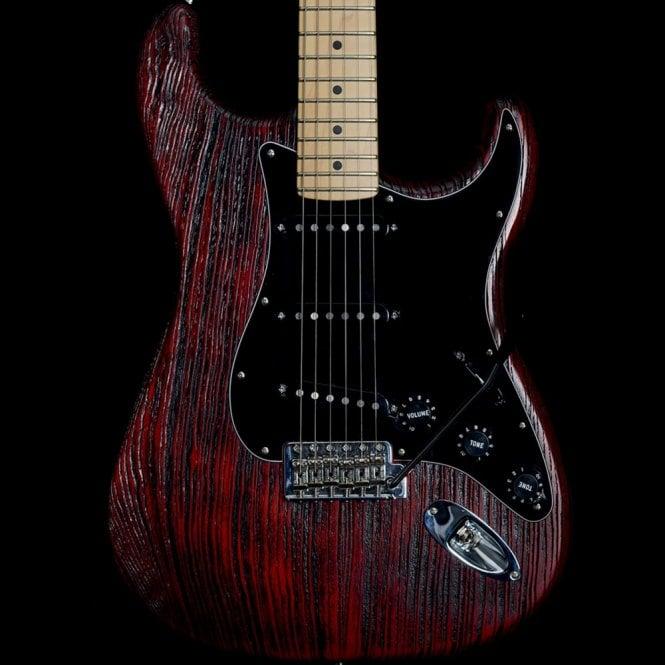Fender 2014 American Special FSR Sandblasted Stratocaster, Crimson Red Transparent
