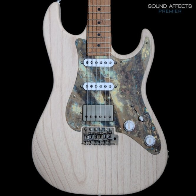 Patrick James Eggle 96 Swamp Ash with Patinated Pickguard and Roasted Maple Neck #19848, White Wash