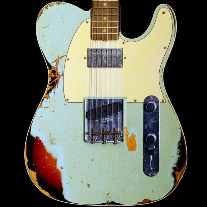 Fender Custom Shop 2018 Model Heavy Relic Reverse Custom HS Telecaster, Aged Daphne Blue / 3-Tone Sunburst