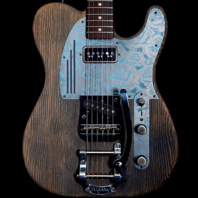 James Trussart Steel Guardcaster #17114, Blue Rose on Driftwood with Bigsby, Pre-Owned