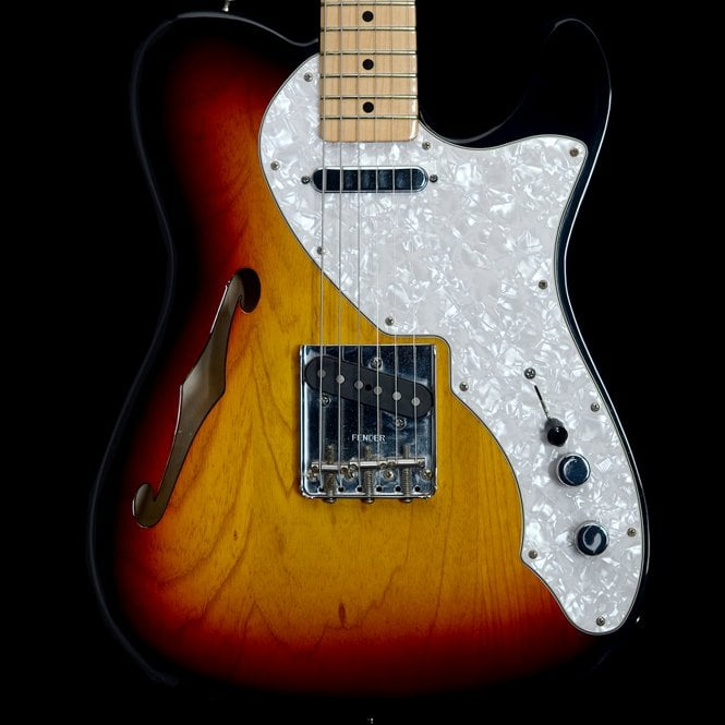 Fender 2011 Thinline Telecaster Electric Guitar in Two-Tone Sunburst, Pre-Owned