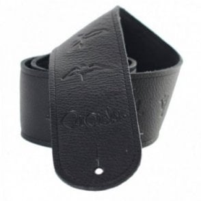 Birds Leather Guitar Strap Black