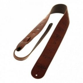 Leather Guitar Strap - Brown w/ Embossed Birds