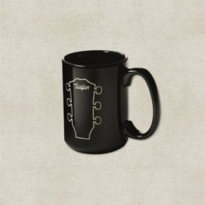 Etched Ceramic Mug, Black with Peghead Design