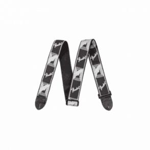 """2"""" Monogrammed Adjustable Guitar Strap - Black/Grey"""