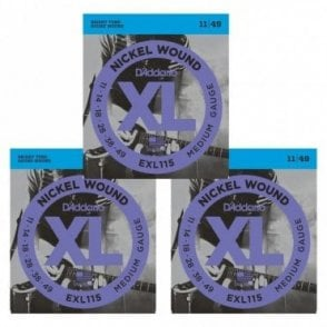 Nickel Wound Electric Guitar Strings, Medium/Blues-Jazz Rock, 11-49 (3 Sets)