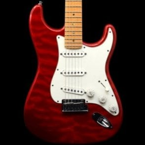 Custom Deluxe Strat In Candy Apple Red, Quilt Maple Top, Pre-Owned
