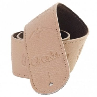 Birds Leather Guitar Strap Tan
