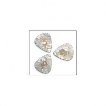 White Pearloid Celluloid Guitar Plectrums x12
