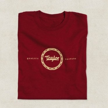 Guitars Rosette Design T-Shirt In Cardinal Red, Various Sizes