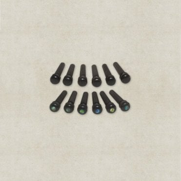 Bridge Pins - Black Plastic, Ebony or Ebony w/ Abalone (Set of 6)