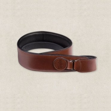 Tan / Black / Brown Leather Badge Guitar Strap