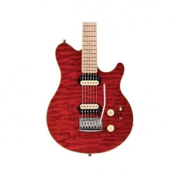 Sterling SUB AX3 Electric Guitar, Trans Red