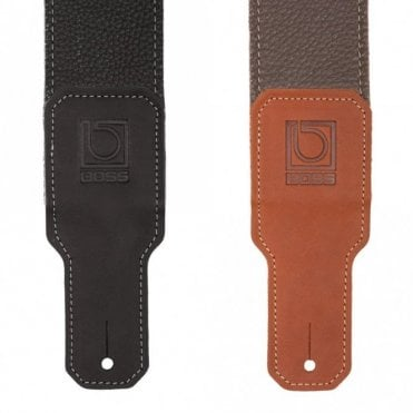 BSL-30 Black / Brown Premium Leather Guitar Strap