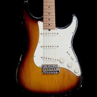 Antique Classic SSS Electric Guitar with Maple Neck, Tobacco Sunburst