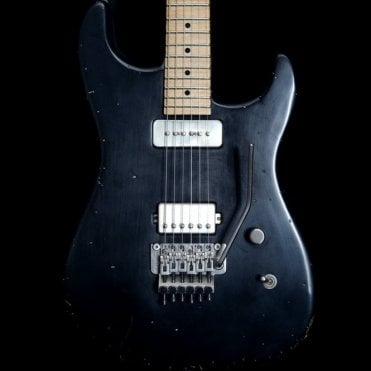 Luxxtone El Machete electric guitar with Arcane Pickups and Floyd Rose, Aged black finish