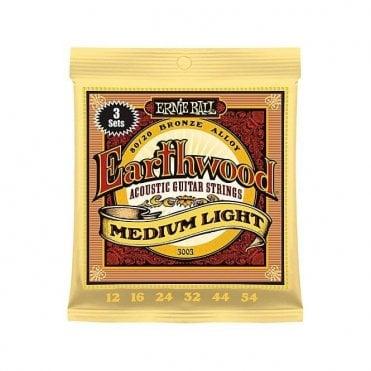 Earthwood 80/20 Bronze Acoustic Guitar Strings Medium Light (3 Pack) + FREE PICKS