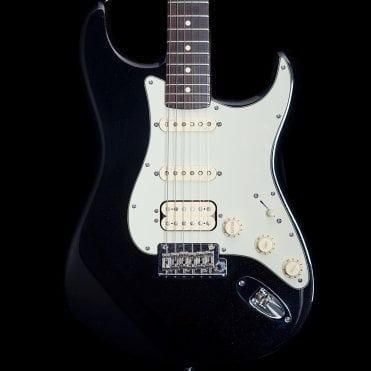 American Deluxe HSS Stratocaster in Mystic Black with Personality Cards, Pre-Owned