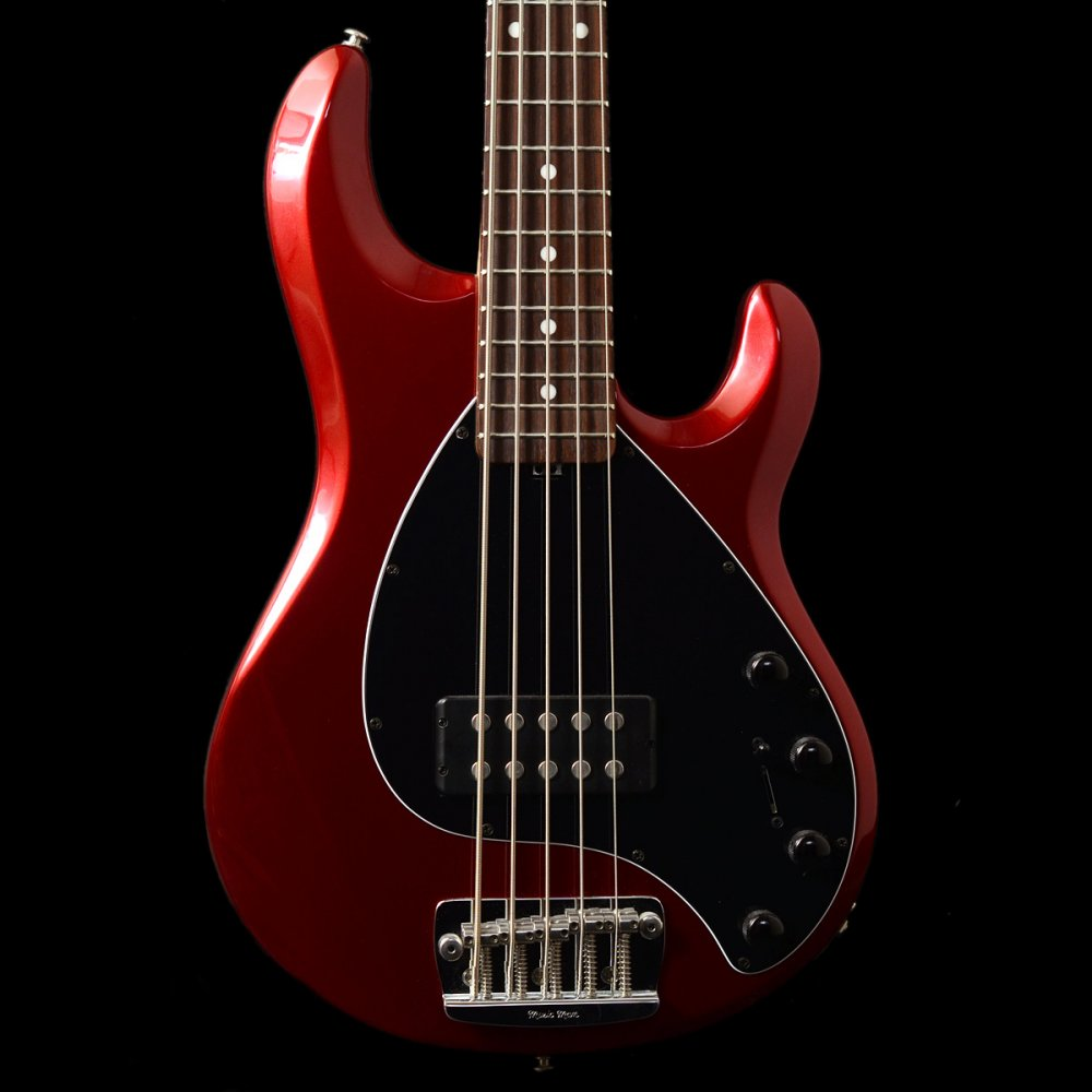 second hand music man stingray 5 string bass in candy red for sale. Black Bedroom Furniture Sets. Home Design Ideas