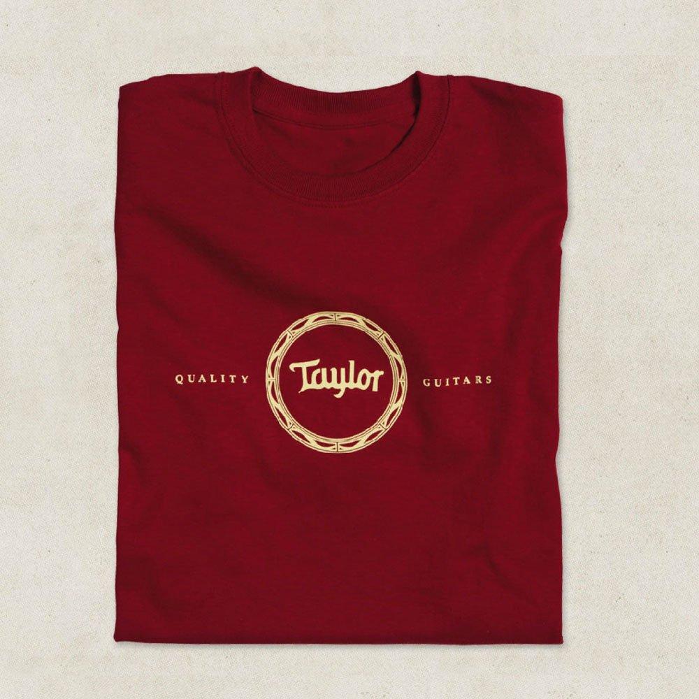 taylor guitars rosette design t shirt in cardinal red various sizes sound affects premier. Black Bedroom Furniture Sets. Home Design Ideas
