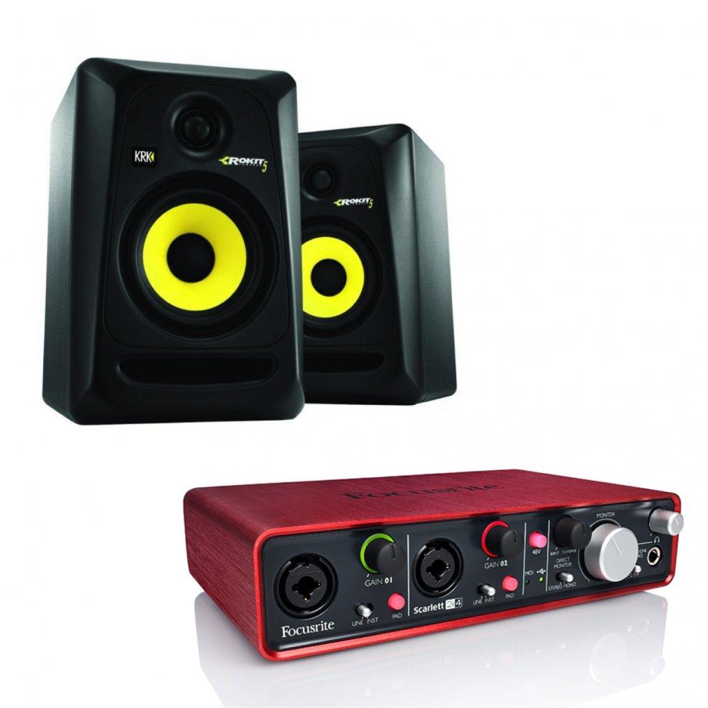 focusrite scarlett 2i4 pair of krk rokit 5 studio monitors bundle. Black Bedroom Furniture Sets. Home Design Ideas