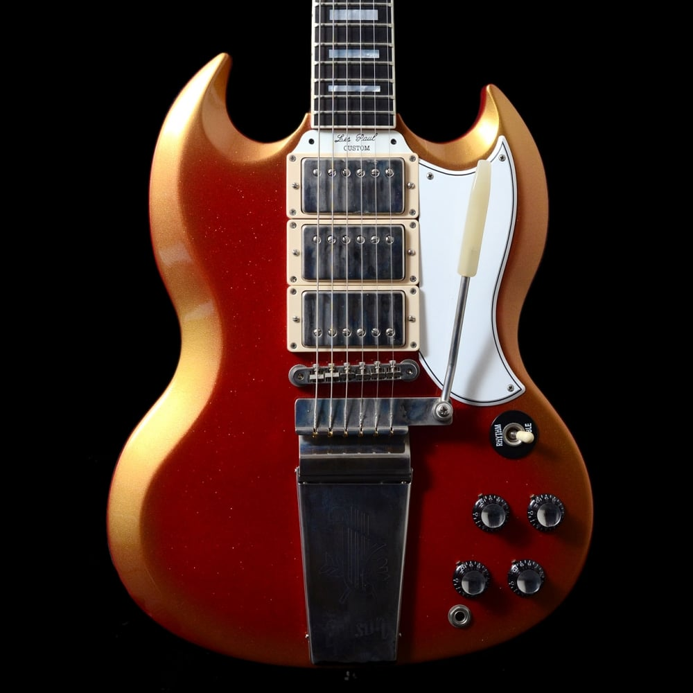 buy gibson custom shop 39 les paul 39 sg custom 3 pickup red gold sparkle electric guitar. Black Bedroom Furniture Sets. Home Design Ideas