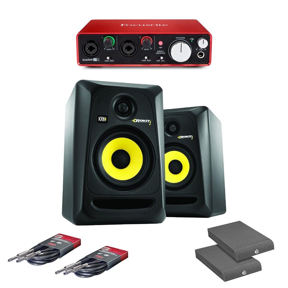focusrite studio bundle 2i2 audio interface x2 krk rp5 monitors pads leads focusrite. Black Bedroom Furniture Sets. Home Design Ideas
